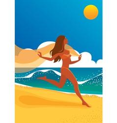 woman running on beach vector image