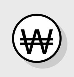 won sign flat black icon in white circle vector image