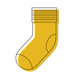 yellow watercolor silhouette of one sock vector image