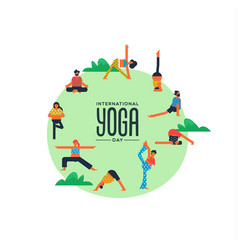 yoga day card people doing exercise outdoor vector image