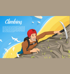 young climber in protective helmet with ice axe vector image