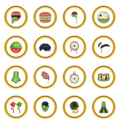 zombie parts icons circle vector image
