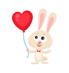 cute and funny rabbit bunny holding red heart vector image vector image