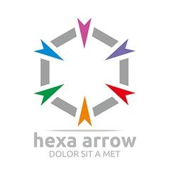 hexa arrow design icon symbol star vector image vector image