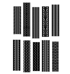 set of tyre shapes isolated on white background fo vector image