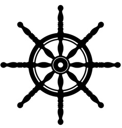 Ship steering wheel silhouette isolated on white vector image