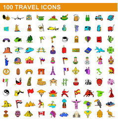 100 travel icons set cartoon style vector image vector image