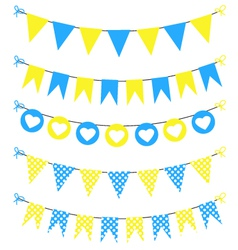Bunting set yellow and blue for scrapbook vector image