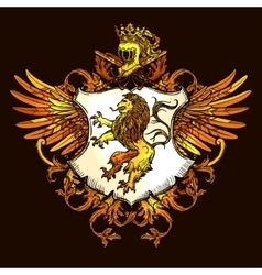 Classic Heraldic Royal Emblem Colorful Icon vector image