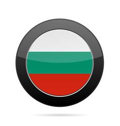 flag of bulgaria shiny black round button vector image vector image