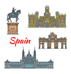 spanish travel landmark of madrid linear icon set vector image vector image