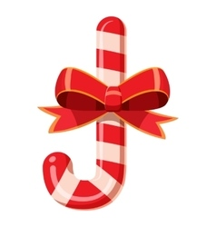 Candy cane with bow icon cartoon style vector image