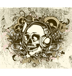 grunge music background with skull vector image