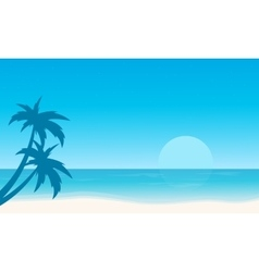 Silhouette of beach flat landscape vector image vector image