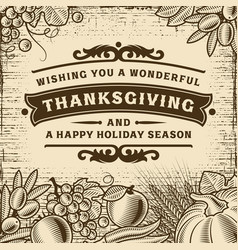 Thanksgiving vintage brown card vector