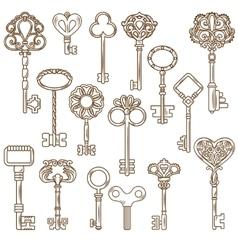 Vintage keys line works set vector