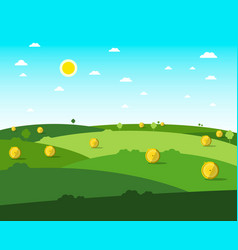 empty field flat design meadow sunny day with vector image