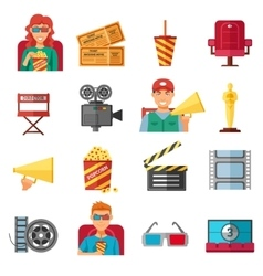 Flat Color Cinema Decorative Icons Collection vector image