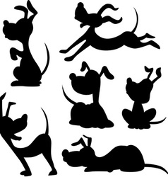 funny dog silhouette - vector image