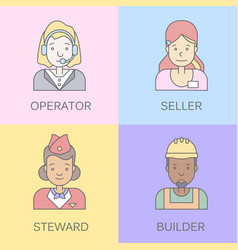 Linear flat people faces and professions vector