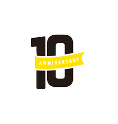 10 years anniversary number with yellow ribbon vector