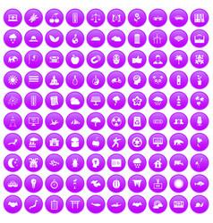 100 harmony icons set purple vector image