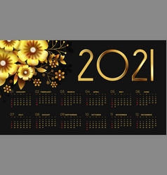 2021 new year black and golden calendar design vector