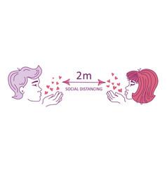 a man and a woman blow kisses maintain social vector image