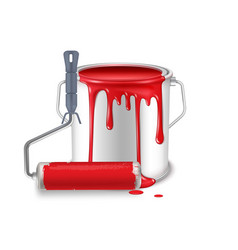 An open tin can with spilled red paint and a vector