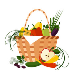 basket full of fresh fruit vector image