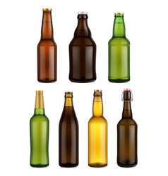 Beer bottle glass isolated on white background vector