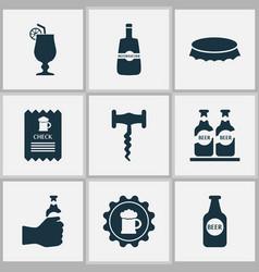 beverages icons set with corkscrew bottle cap vector image