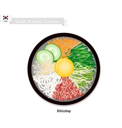 Bibimbap or Korean Mixed Rice with Meat Vegetable vector