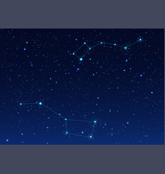 big and small dipper constellation polar star vector image