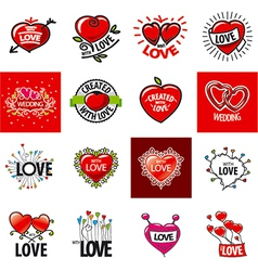 big set of logos heart vector image