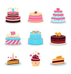 Birthday cakes set party cake anniversary vector