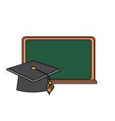 blackboard object with cap graduation design vector image
