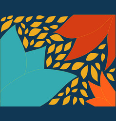 blue orange background with leaves vector image