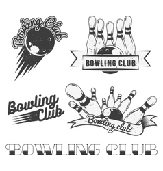 Bowling club logo set in vintage style vector image