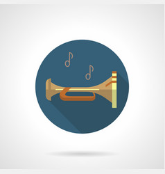 brass wind instruments bugle round icon vector image