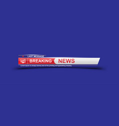 breaking news template title with shadow on white vector image