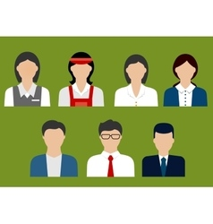 Business and sales profession flat avatars vector
