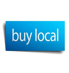 Buy local blue square isolated paper sign on white vector