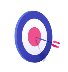 Cartoon arrow exactly on target graphic vector