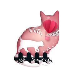 cartoon paper landscape cat air vector image