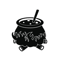 Cauldron with potion icon vector image