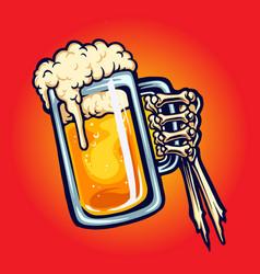 Cheers beer glass toast hand bones vector