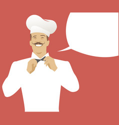 chef with mustache and empty speech balloon retro vector image
