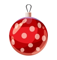 Christmas red ball icon cartoon style vector image