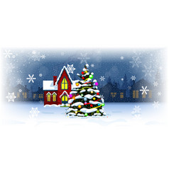christmas tree outside in snow in evening vector image